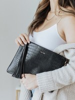 PIXIE MOOD Michelle Clutch BLACK CROC