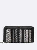 PIXIE MOOD Emma Ziparound Wallet BLACK+WHITE WOVEN