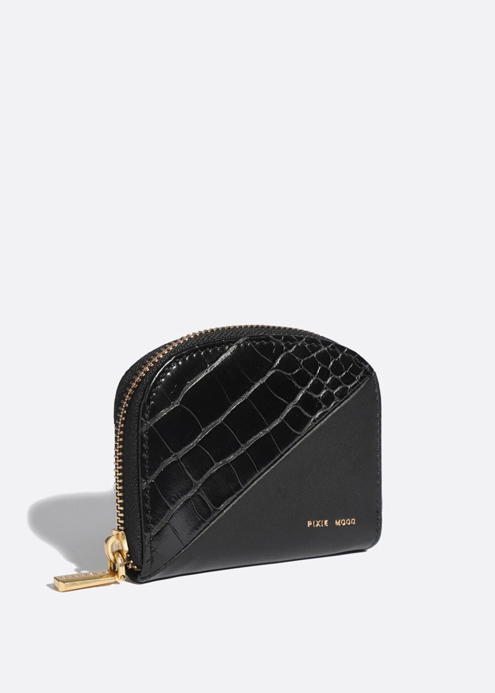 PIXIE MOOD Ida Card Case BLACK CROC/BLACK
