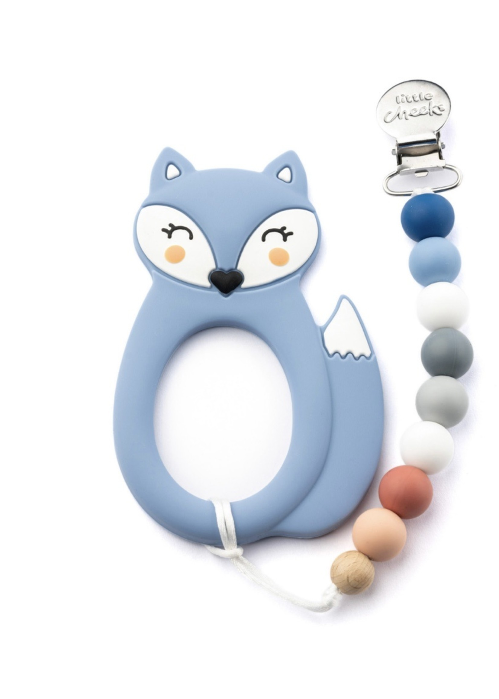 LITTLE CHEEKS LITTLE CHEEKS Blue Fox TEETHER & CLIP