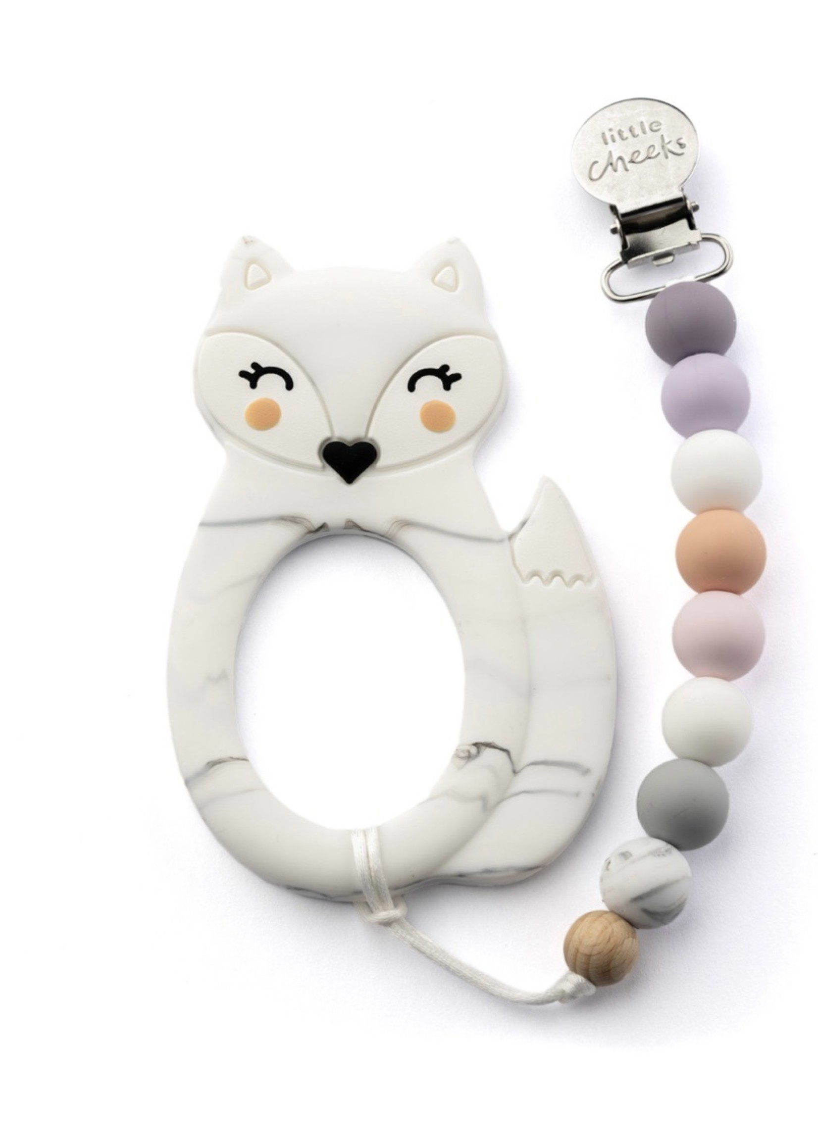 LITTLE CHEEKS Marble Fox TEETHER & CLIP