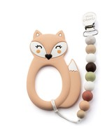 LITTLE CHEEKS Peach Fox TEETHER & CLIP