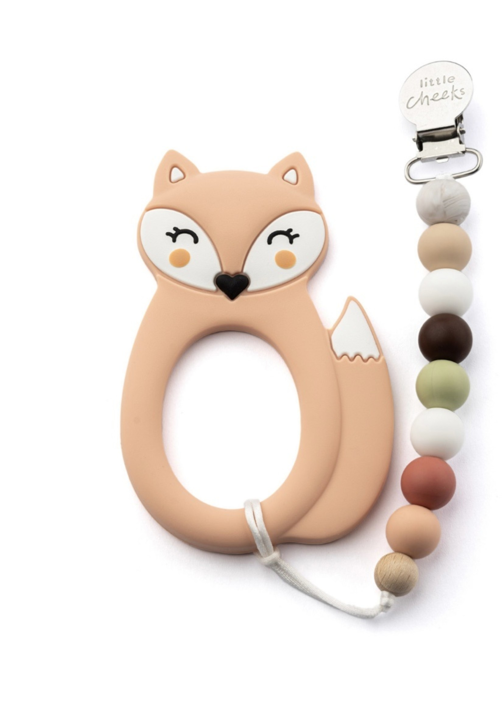 LITTLE CHEEKS LITTLE CHEEKS Peach Fox TEETHER & CLIP