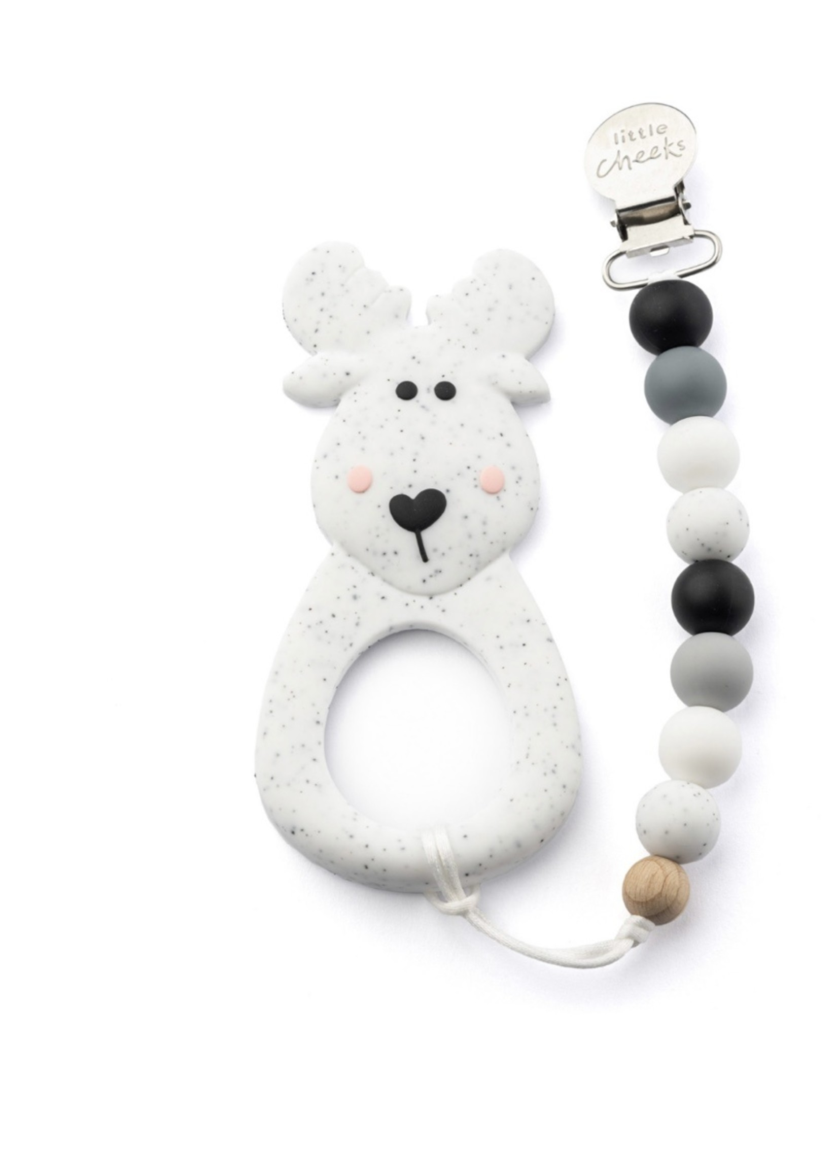 LITTLE CHEEKS Speckled Moose TEETHER & CLIP