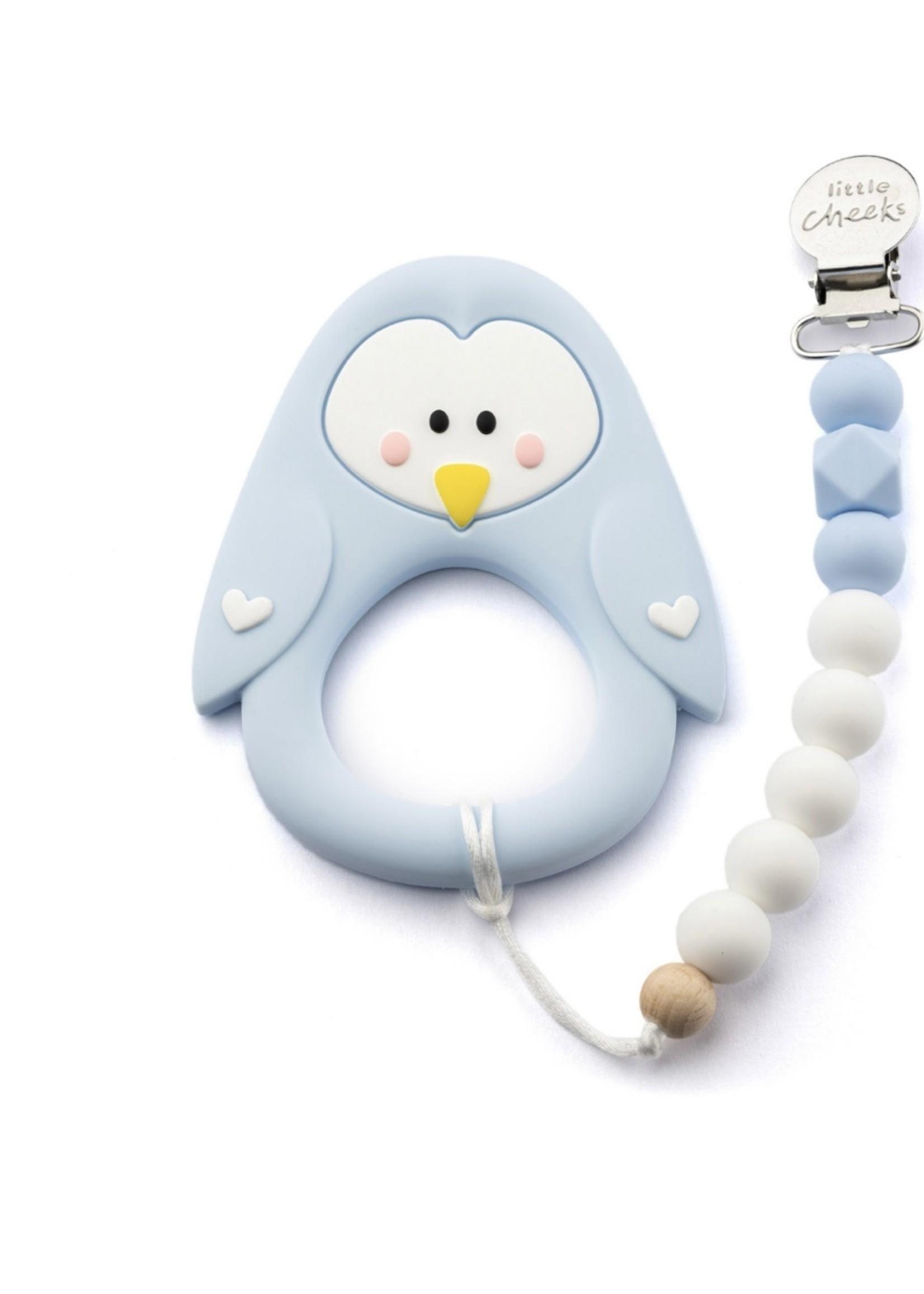 LITTLE CHEEKS Blue Penguin TEETHER & CLIP