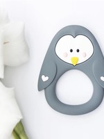 LITTLE CHEEKS Grey Penguin SILICONE TEETHER