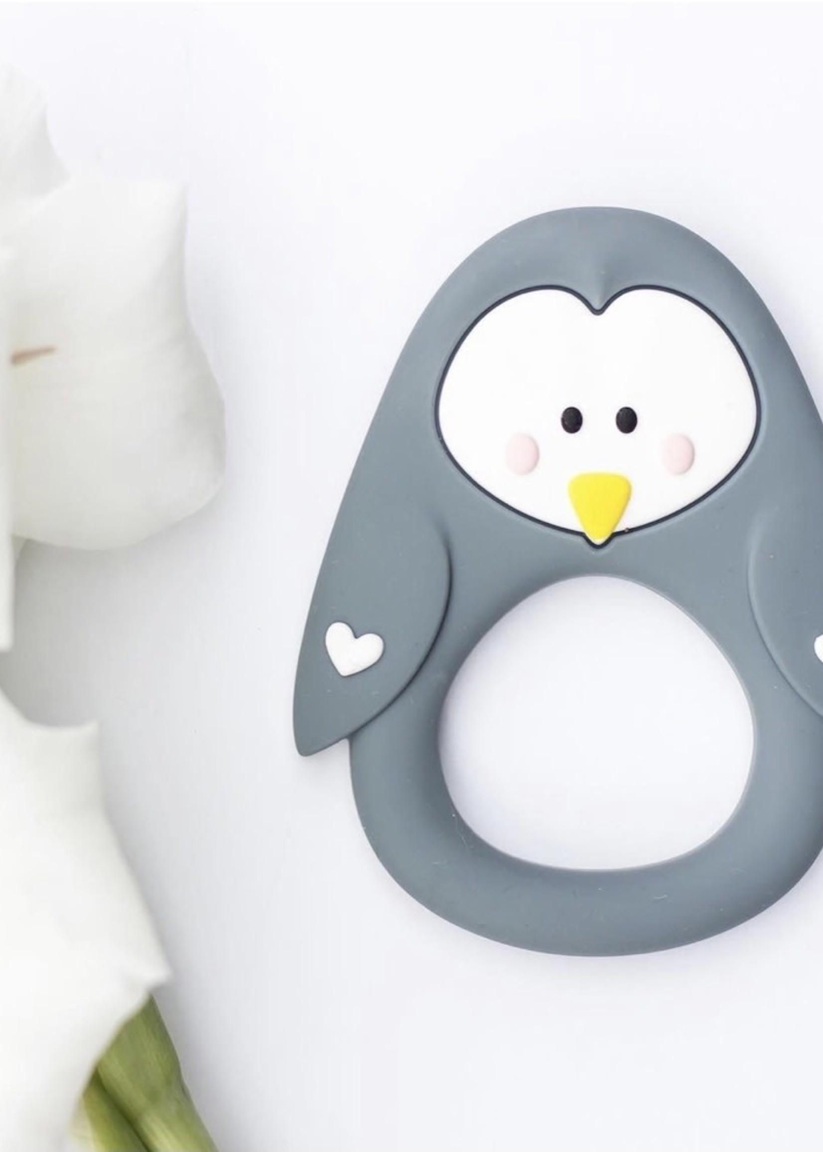 LITTLE CHEEKS LITTLE CHEEKS Grey Penguin SILICONE TEETHER