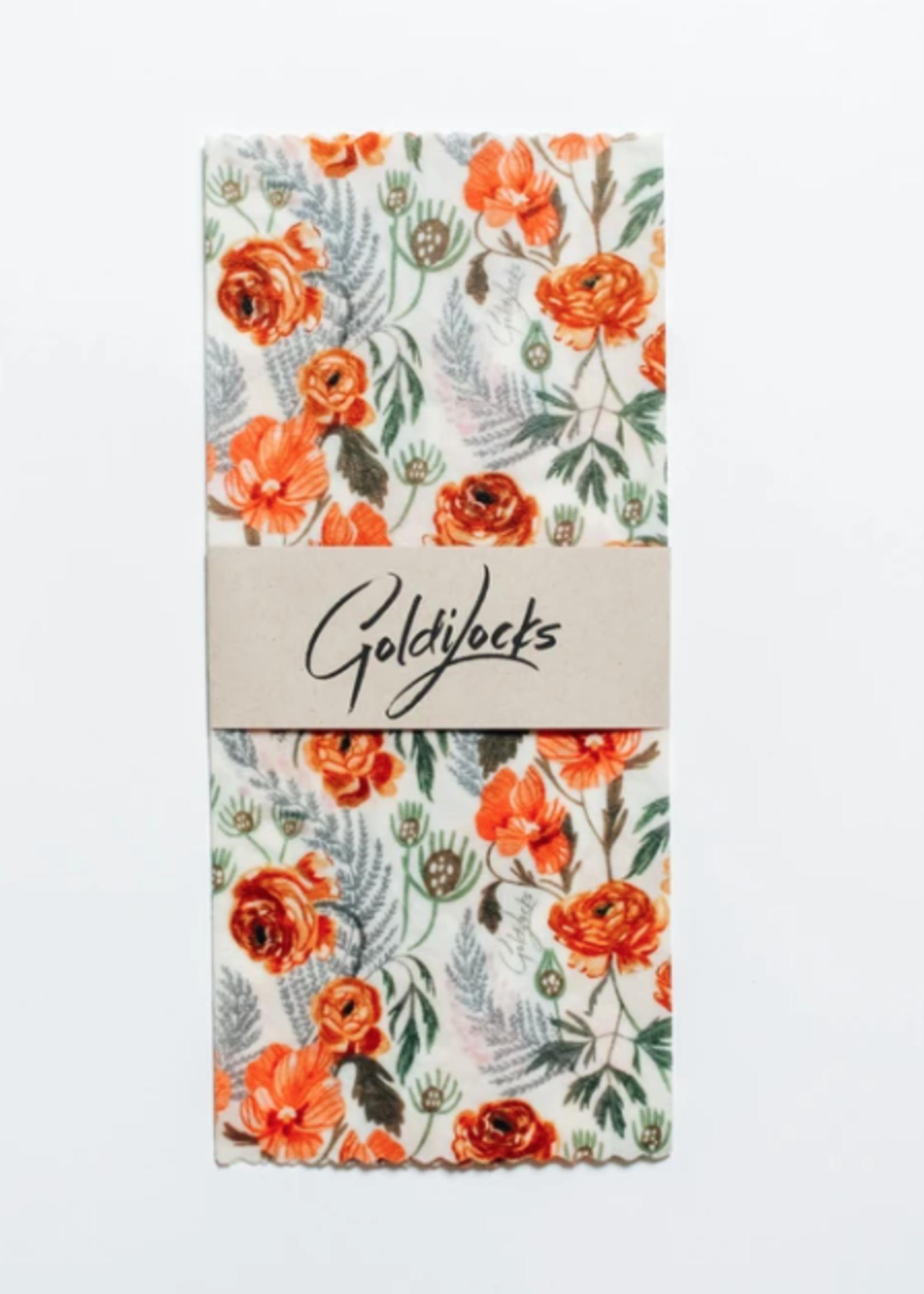 GOLDILOCKS wraps GOLDEN FLORAL Food Wraps, Medium