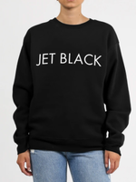 BRUNETTE  the label BRUNETTE, JET BLACK crew, BLACK