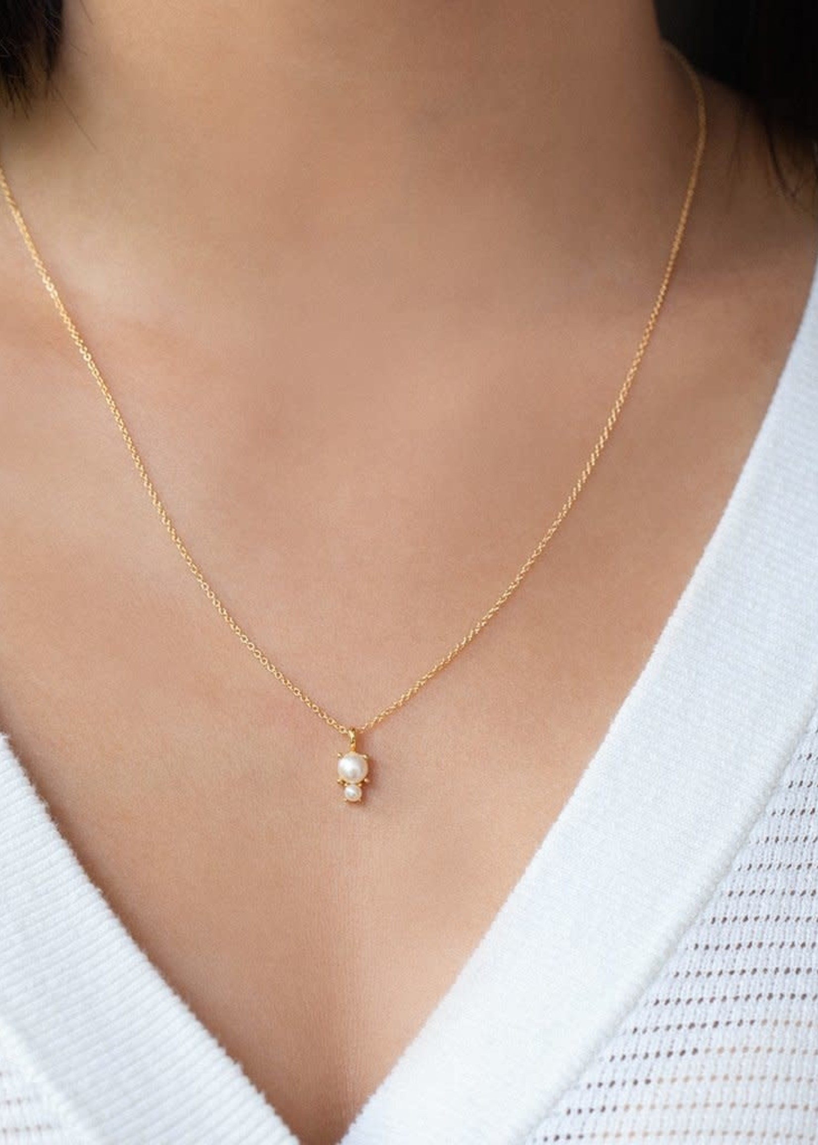 LEAH ALEXANDRA DUO pearl necklace, Gold