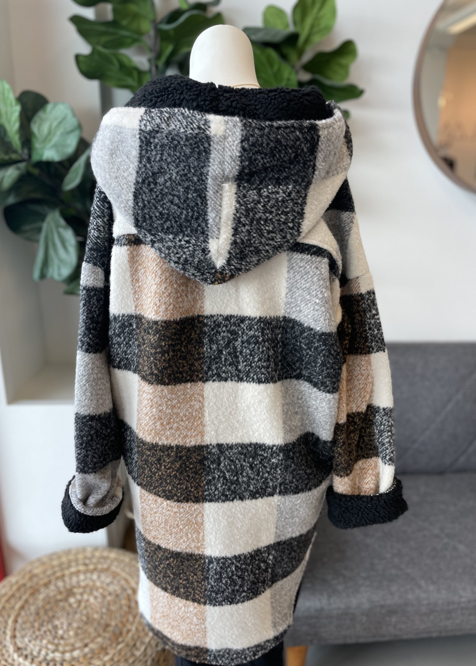 RD STYLE SHEARING Plaid Hooded Jacket