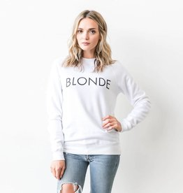 BRUNETTE  the label BLONDE Crew, WHITE