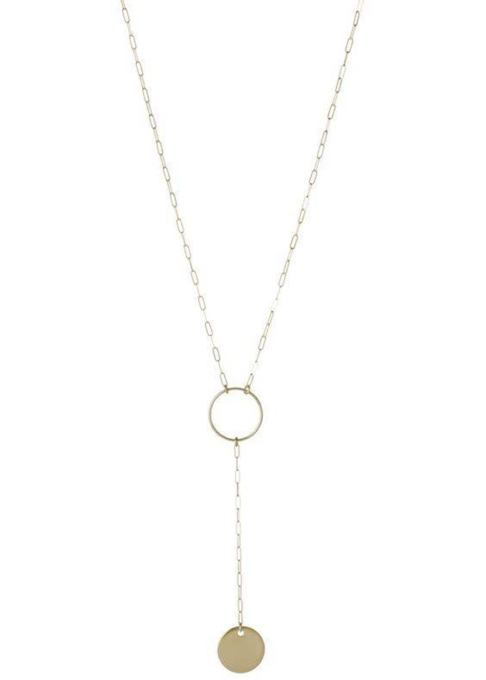 Lisbeth Circle Lariat Necklace, GOLD or SILVER