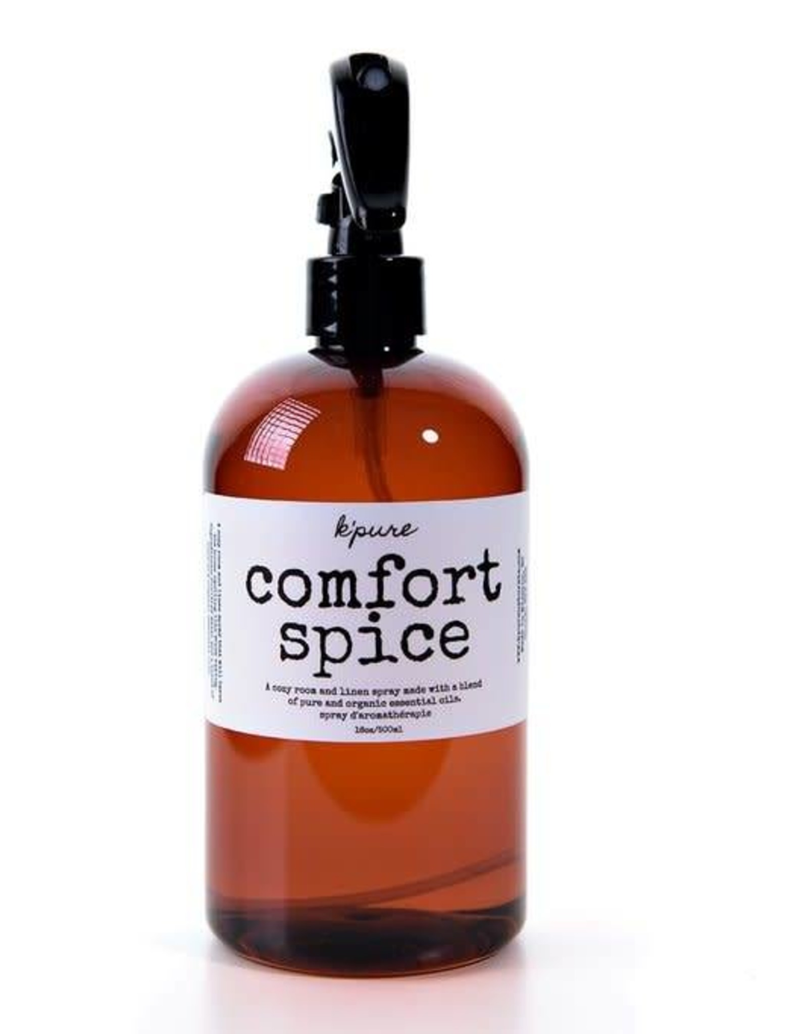 K'PURE COMFORT SPICE essential oil linen and room spray, 16oz