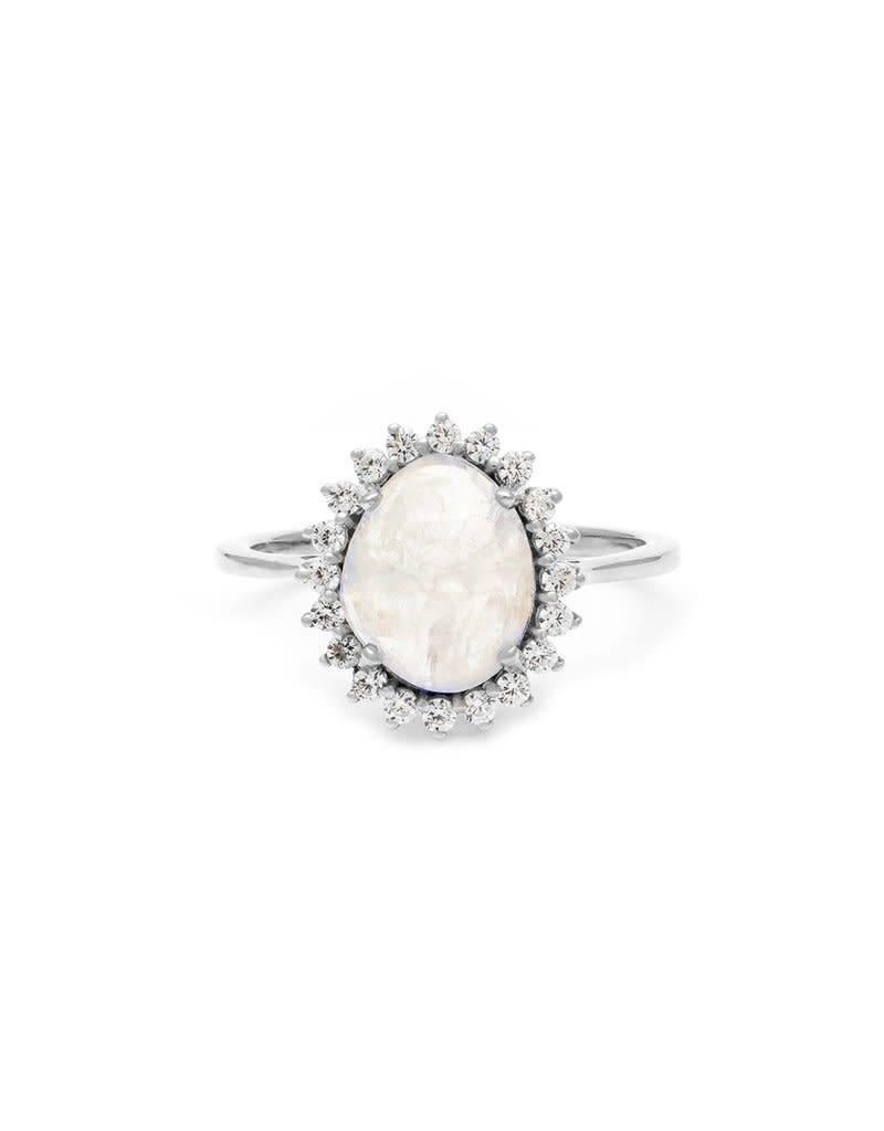 LEAH ALEXANDRA ANTIQUITY ring, MOONSTONE, sterling, Size 7