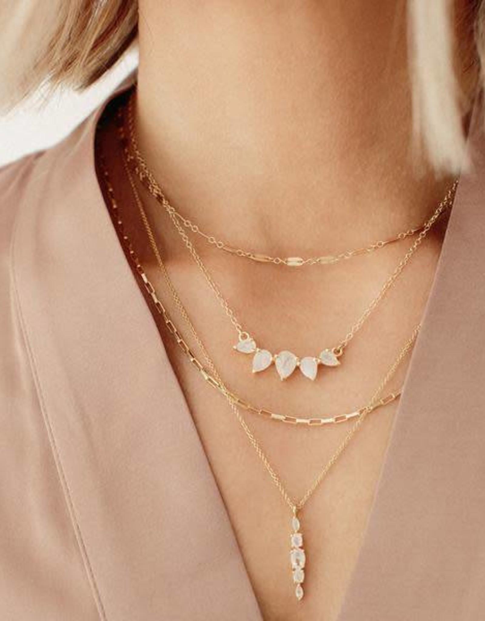 LEAH ALEXANDRA SUNNY necklace, MOONSTONE, 14k gold