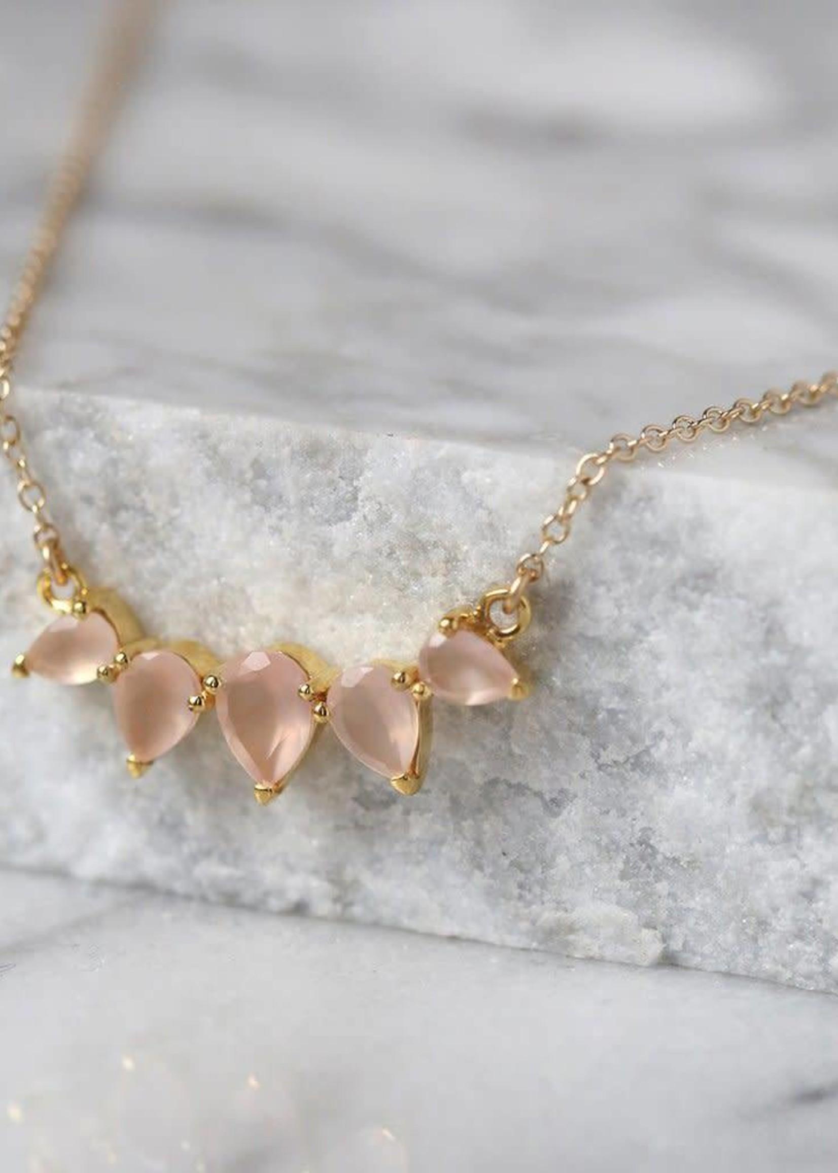 LEAH ALEXANDRA SUNNY necklace, PINK CHALCEDONY