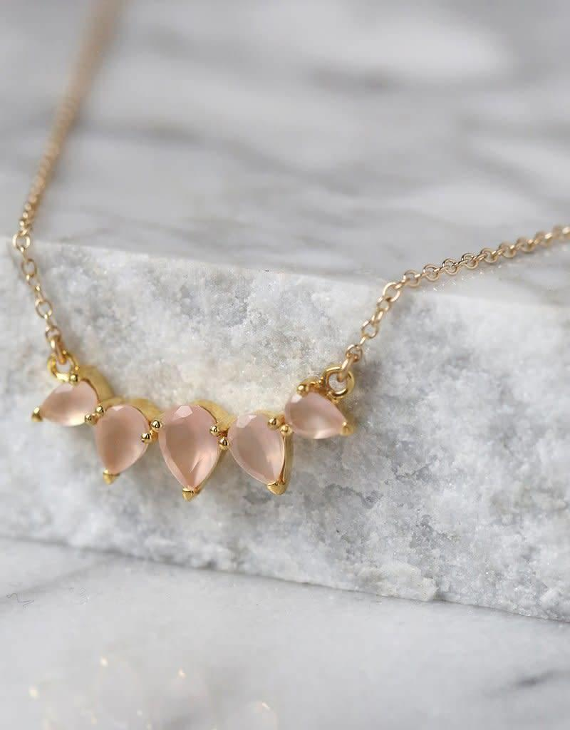 LEAH ALEXANDRA SUNNY necklace, PINK CHALCEDONY