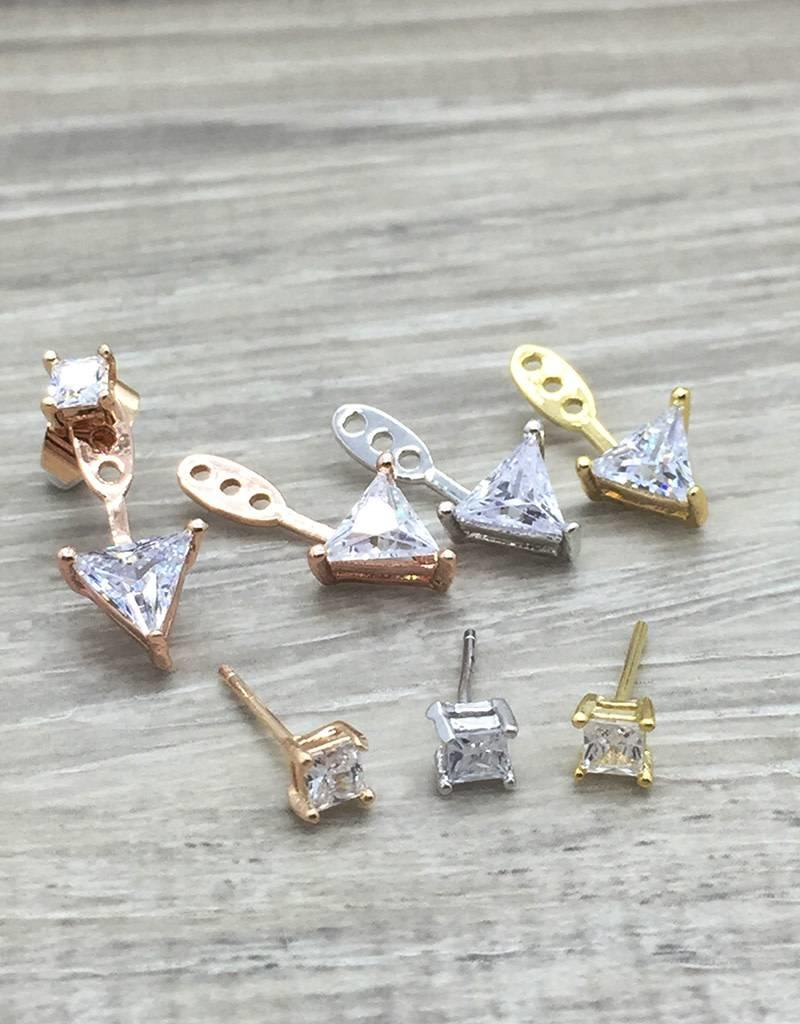 FAB Accessories Triangle CZ ear jackets, GOLD