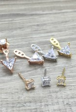 FAB Accessories Triangle CZ ear jackets Silver