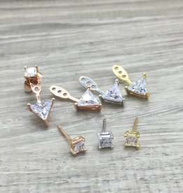 FAB Accessories Triangle CZ ear jackets Silver