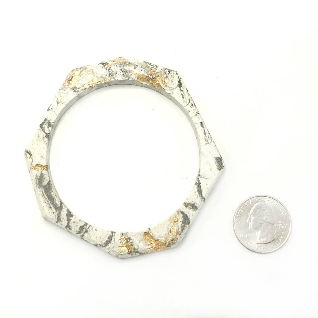 Cement Octagon Bangle- White Marble and Gold