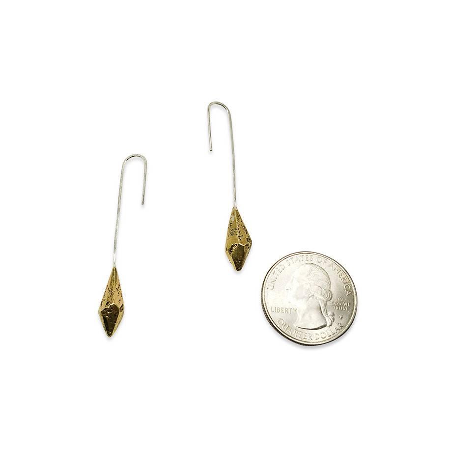 Raw Crystal Drop Earrings-Brass