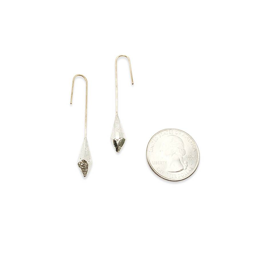 Raw Crystal Drop Earrings- Sterling Silver