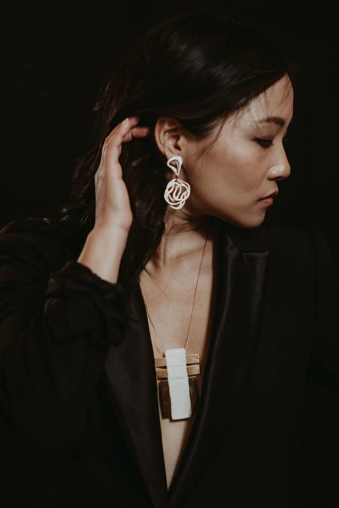 Cream + Gold Gaudi Earrings