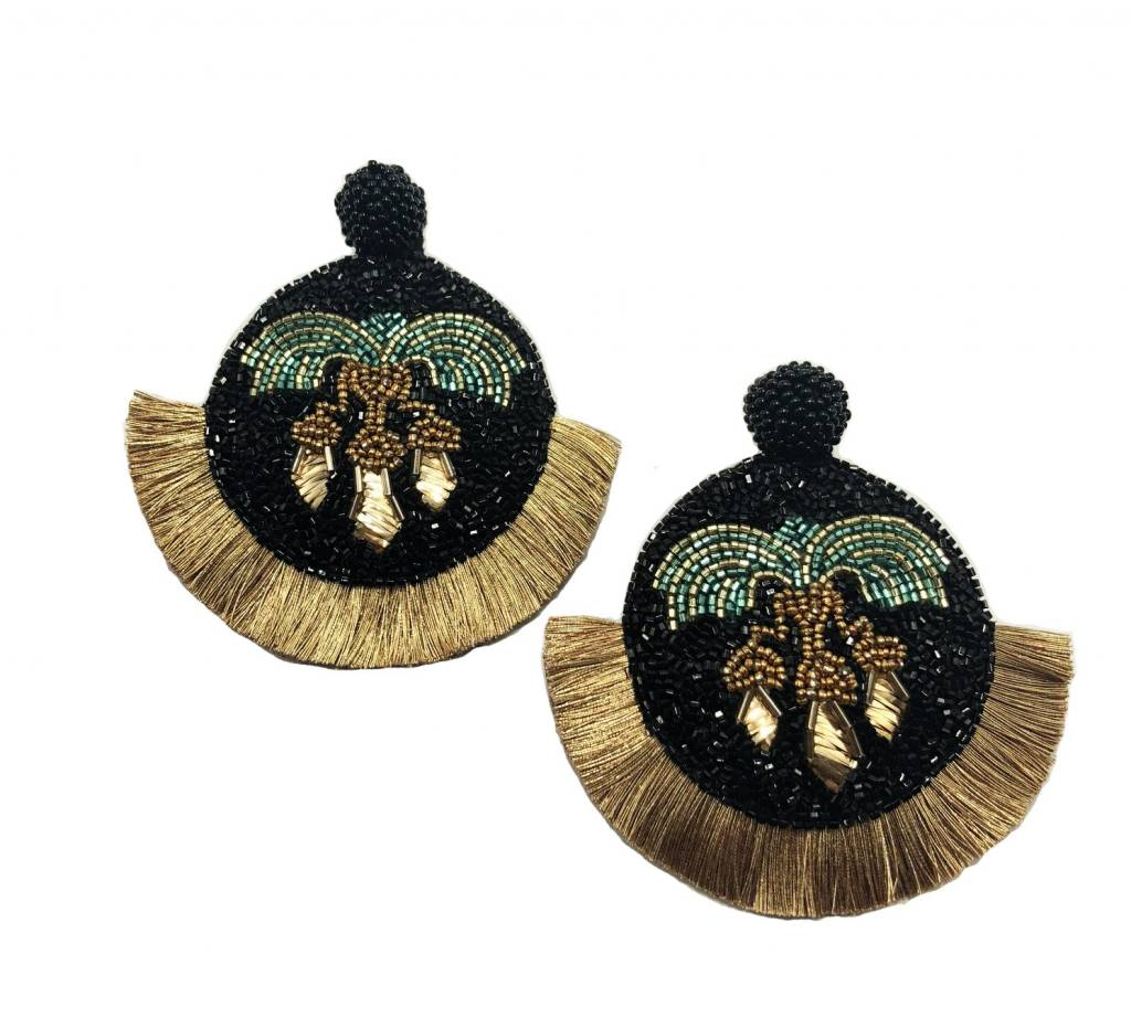Black+Gold Beaded Round Earrings with Fringe