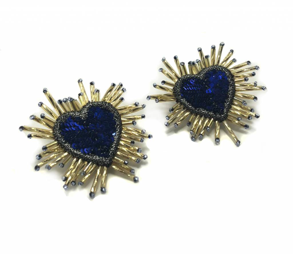 Sacred Heart Earrings-Blue
