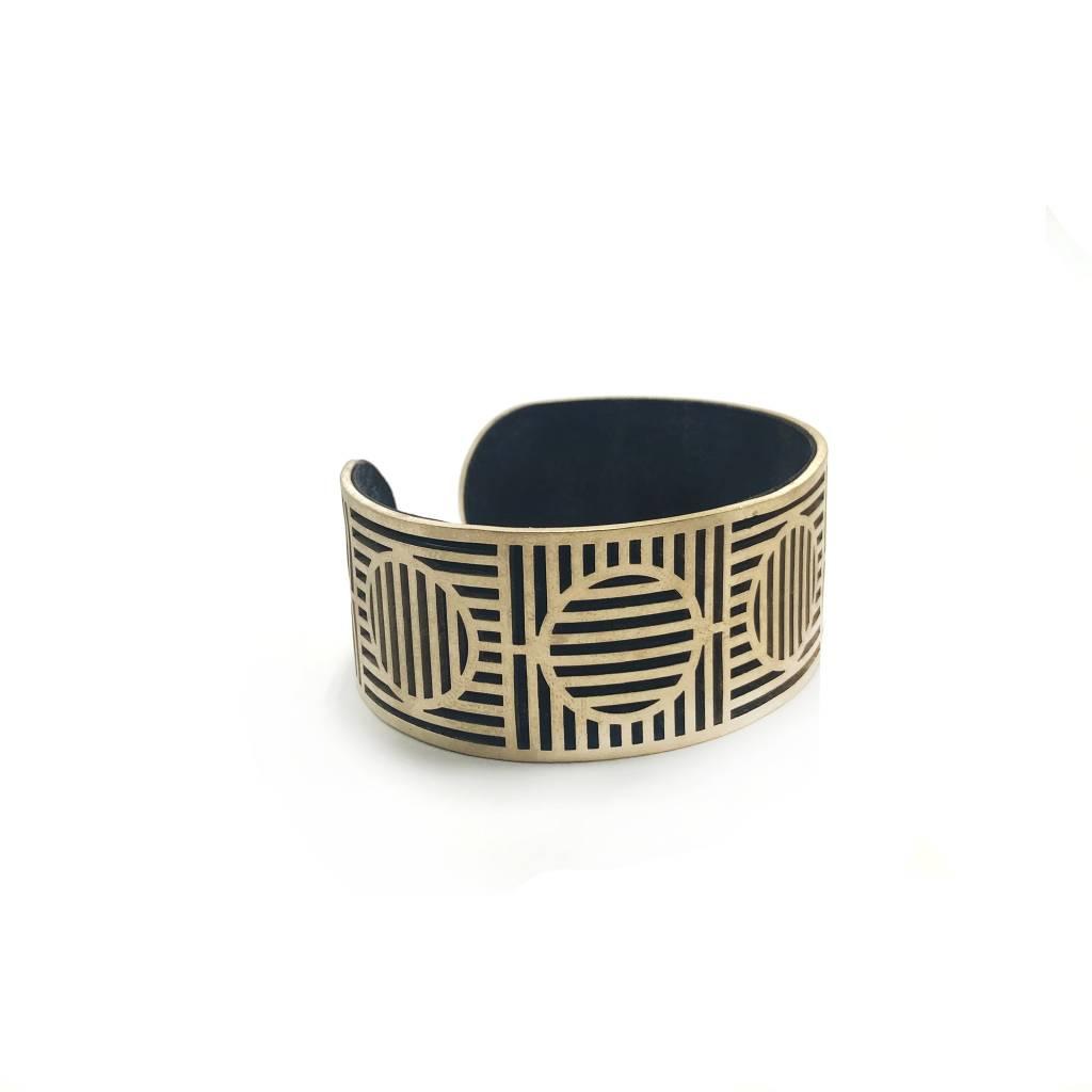 Aperture Leather+Brass Lasercut Cuff