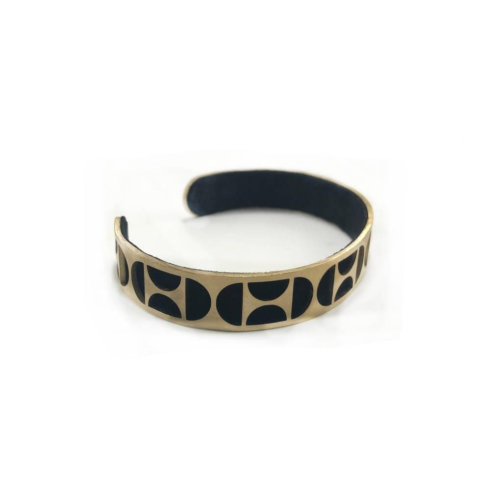 Deflect Brass+Leather Lasercut Cuff
