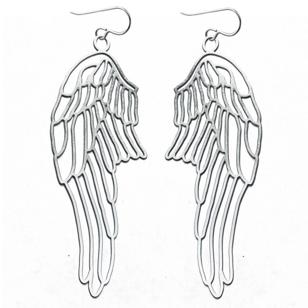 Laser cut Steel Wing Earrings