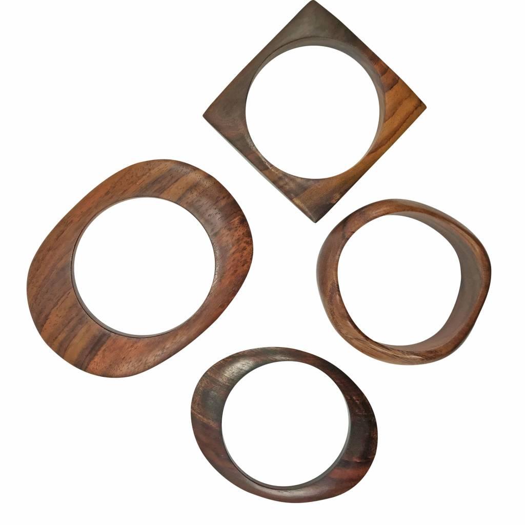 Mid Century Ebony Wood Bangles