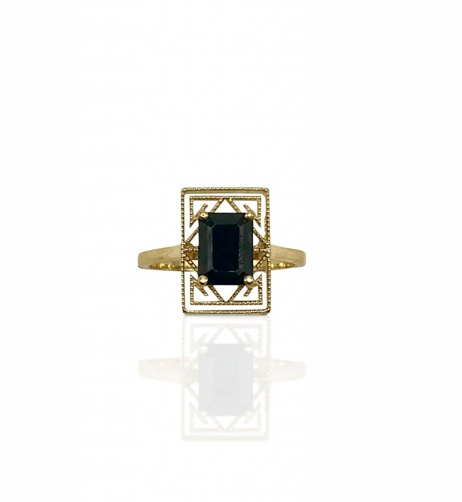 Emerald Cut Black Spinel Ring