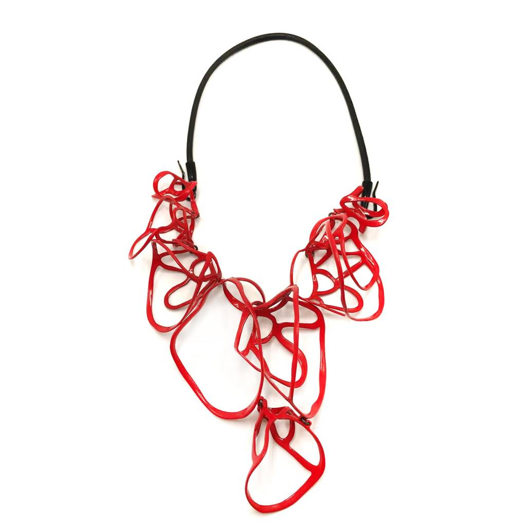 Lace Cluster Necklace Red
