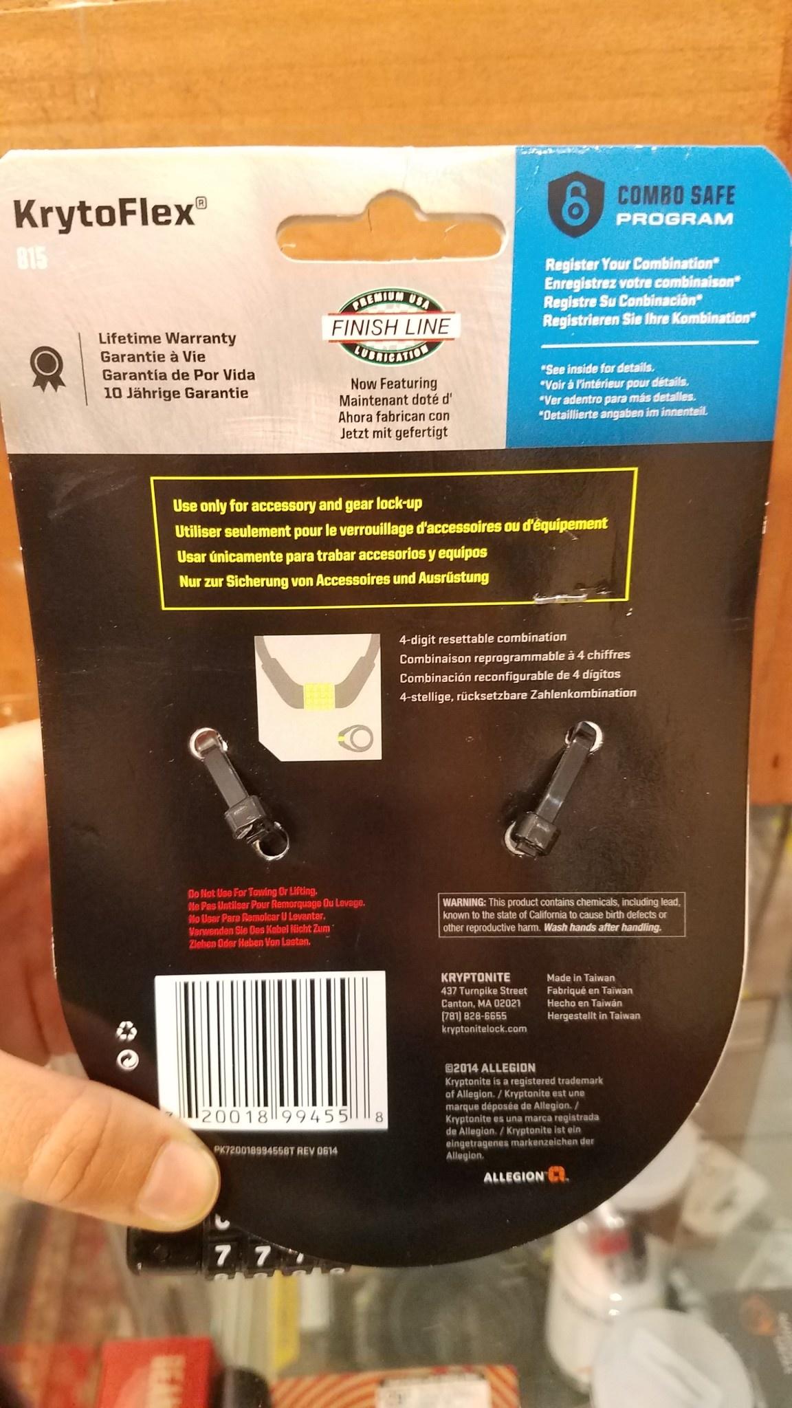 Kryptonite KryptoFlex 815 Combo Cable lock
