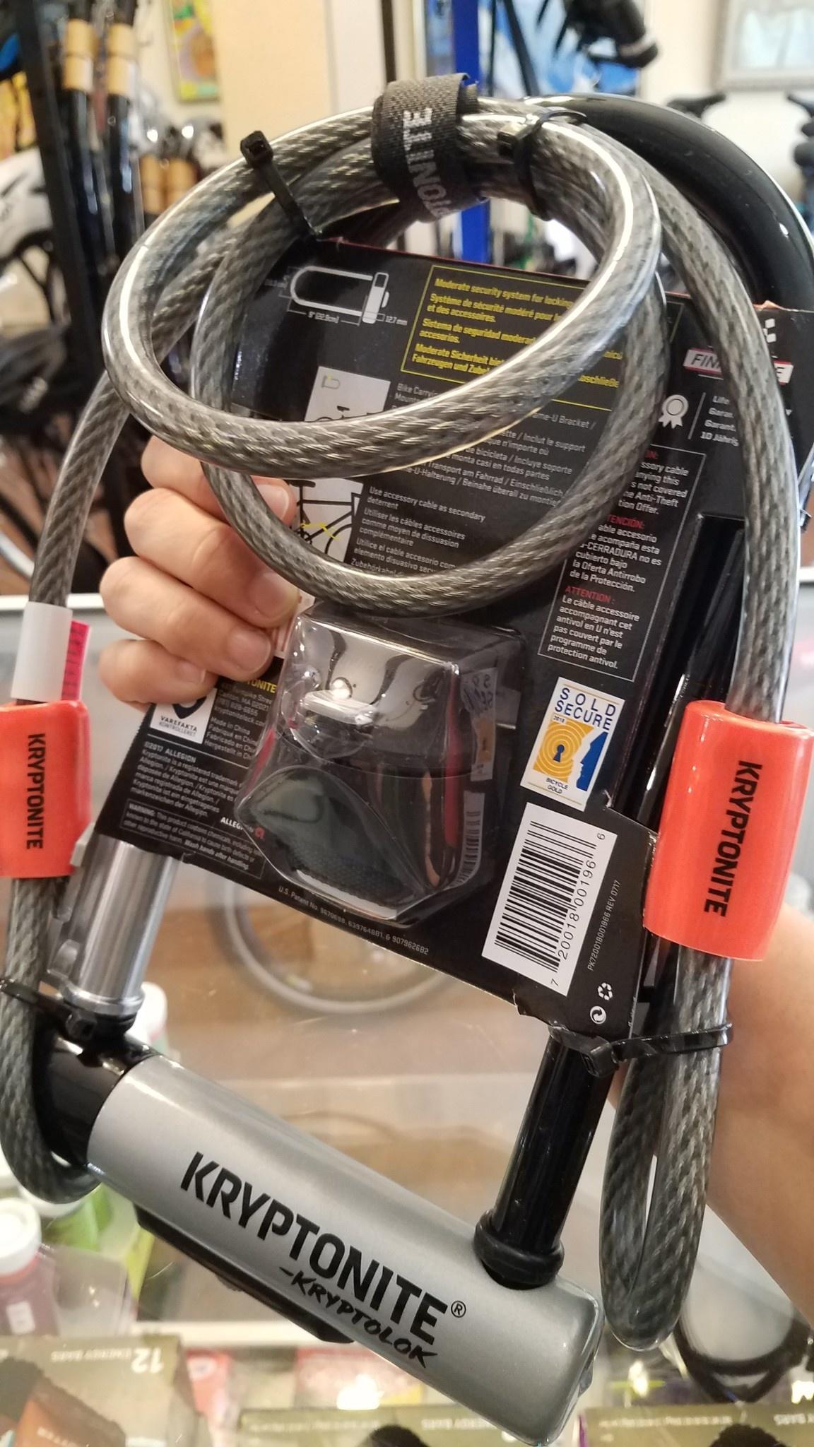 Kryptonite KryptoLok STD U-Lock with 4' Flex Cable and Bracket (6/10 safety)