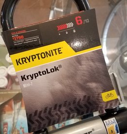 "Kryptonite Kryptonite KryptoLok Mini-7 U-Lock - 3.25 x 7"", Keyed, Black, Includes bracket (6/10 safety)"
