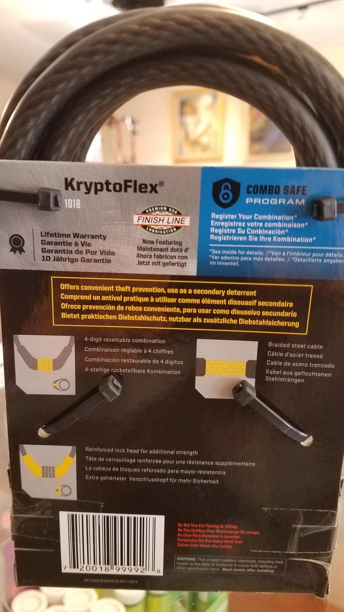 Kryptonite KryptoFlex 1018 Combo Cable Lock: 6' x 10mm