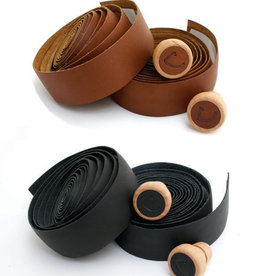 Cardiff Premium Leather Bar Tape, Black