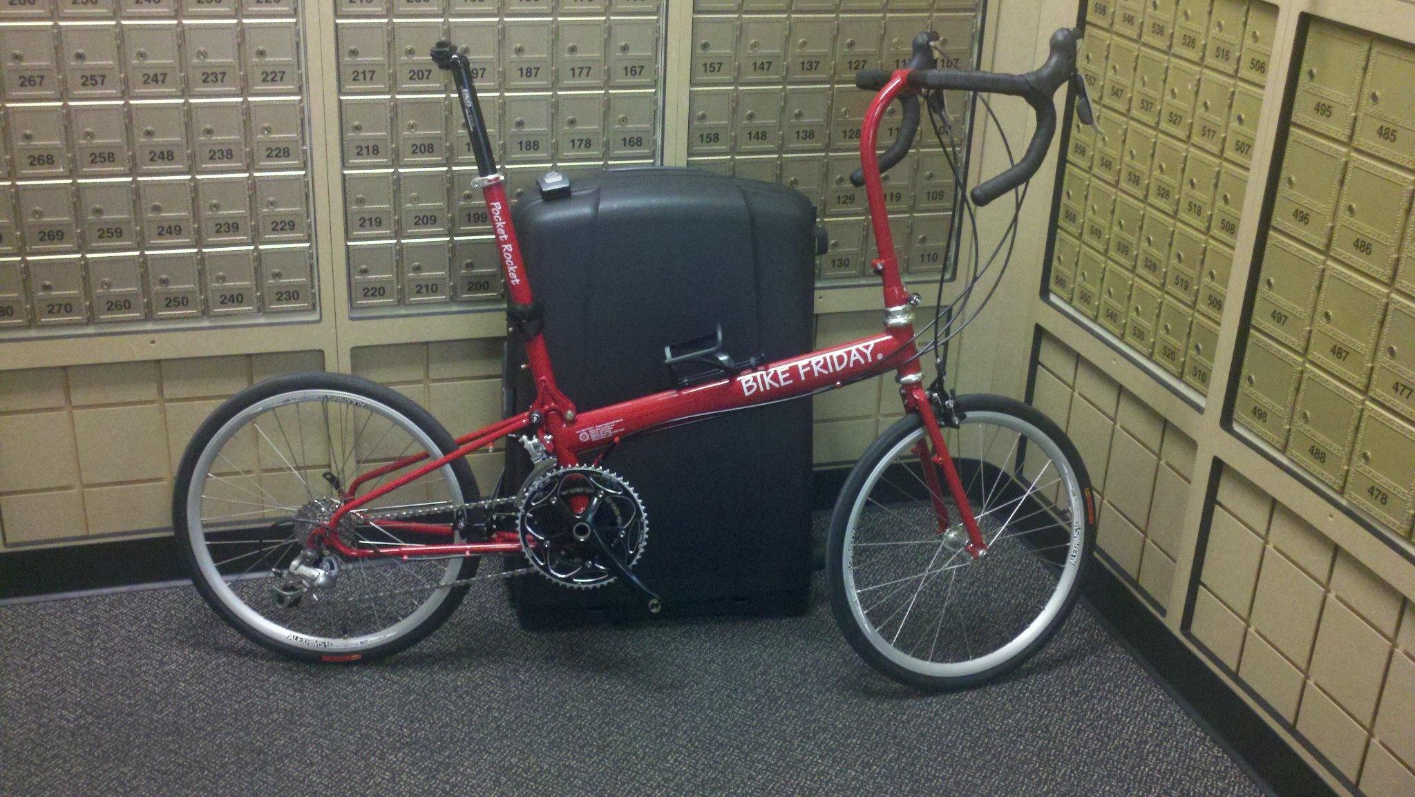 Bike Friday Bike Friday Pocket Rocket, Red, trailer, travel system