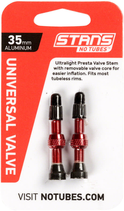 Stan's NoTubes 35mm Tubeless Valves: Pair, Red