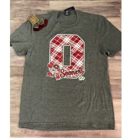 Spirit with Style O Sooner Red and White Plaid Tee