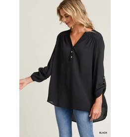 Jodifl HELEN Hi-Lo Top with Roll-Up Sleeves