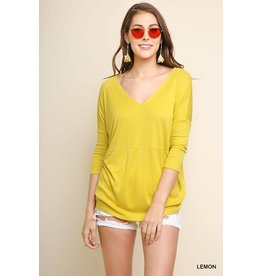 UMGEE QUINN 3/4 Sleeve Basic Ribbed Top