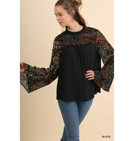 UMGEE CHLOE Black Velvet Embroidered Top