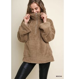 UMGEE GRACE Mocha Sherpa Pull over with Half Zip