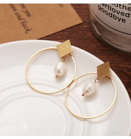 17KM Official Store MACK Gold Diamond Stud with Hoop Pearl Drop Earring